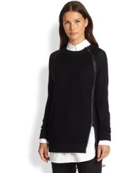 Vince Leather-Trimmed Zip Sweater - Lyst