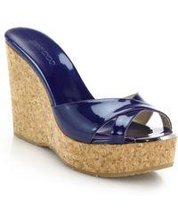Jimmy Choo Perfume Metallic Leather & Cork Wedge Mule Sandals blue - Lyst