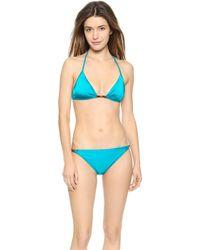 Milly Italian Solid Bikini Bottoms - Teal - Lyst