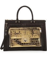 Milly Sienna Python  Crocembossed Twoinone Tote Bag Blackgold - Lyst