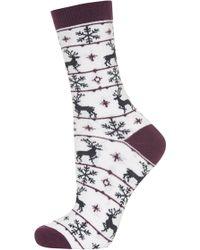 Topshop Reindeer Fairisle Ankle Socks - Lyst