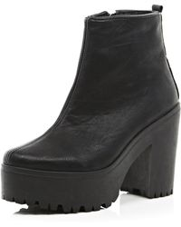 River Island Black Cleated Sole Platform Ankle Boots - Lyst