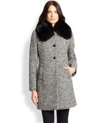 Max Mara Studio Talco Fur-collar Tweed Coat - Lyst