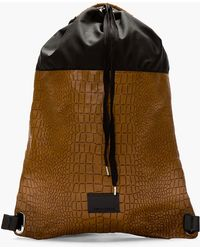 Kris Van Assche Brown Leather Embossed Croc Backpack - Lyst