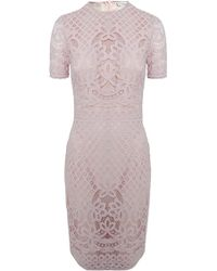 Lover Libra Fitted Dress Dusty Pink - Lyst