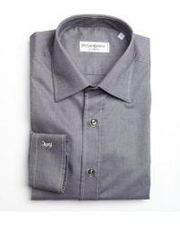 Saint Laurent Grey Oxford Cotton Point Collar Dress Shirt - Lyst