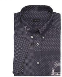 Paul Smith Elephant Grey 'Souvenir Bandana' Print Short-Sleeve Shirt gray - Lyst