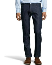 Zegna Sport Dark Blue Cotton Straight Leg Jeans - Lyst