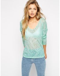Asos Top With V Neck And Curved Hem In Paisley Waffle Fabric - Lyst