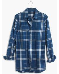 Madewell Flannel Ex-Boyfriend Shirt In Aurora Plaid - Lyst