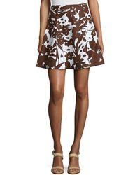 Michael Kors Flirt Printed A-Line Skirt brown - Lyst