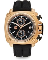 Andrew Marc - Square Stainless Steel & Leather Chronograph Watch - Lyst