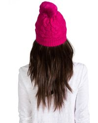 Juicy Couture   Sparkle Cable Beanie with Faux Fur in Fuchsia   Lyst