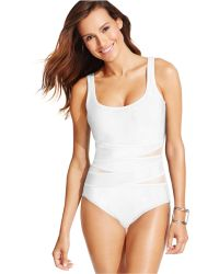 Inc International Concepts Crisscross Illusion Panel One-Piece Swimsuit - Lyst