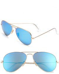 Ray-Ban Men'S 'Original Aviator' 58Mm Sunglasses - Gold/ Blue - Lyst