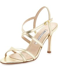 Manolo Blahnik Bayan Strappy Metallic Leather Sandal - Lyst