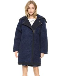 See By Chloé Fur Effect Coat - Blue - Lyst