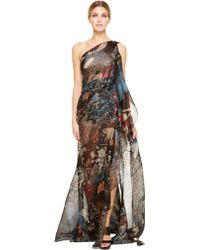 Donna Karan New York Belted One Shoulder Embroidered Evening Gown - Lyst