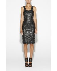 Nicole Miller Embroidered Leather Dress - Lyst