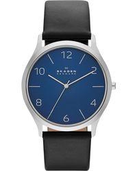 Skagen Men'S Jorn Black Leather Strap Watch 41Mm Skw6151 - Lyst