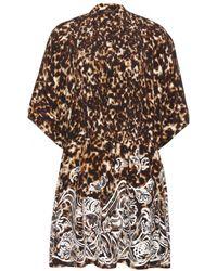 Roberto Cavalli Embroidered Printed Silk Dress - Lyst