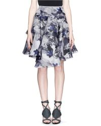 Prabal Gurung Flower Marble Print Tiered Silk Organdy Skirt - Lyst