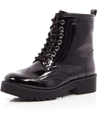River Island Black Patent Chunky Lace Up Boot - Lyst