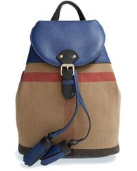 Burberry Check Print & Leather Mini Backpack blue - Lyst