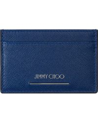 Jimmy Choo Blue Textured Leather Card Holder - Lyst