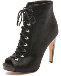 Sam Edelman Karmen Open Toe Haircalf Booties - Black - Lyst