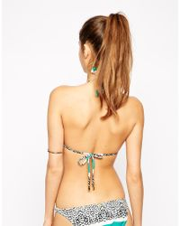 Vix Sawi Printed Bikini Bottom with Leatherette Details - Lyst