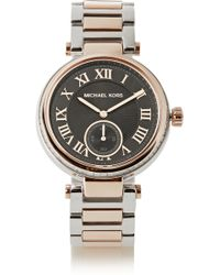 Michael Kors Skylar Crystal-embellished Two-tone Watch - Lyst