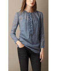 Burberry Silk Seersucker Detail Shirt - Lyst