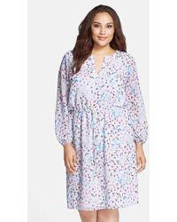 Adrianna Papell Floral-Print Chiffon Dress - Lyst