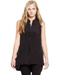 Polo Ralph Lauren Sleeveless Bib-front Silk Shirt - Lyst