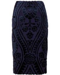 Burberry Prorsum Pencil Skirt with Velvet Appliqué - Lyst