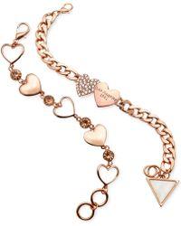 Guess Heart Charm Bracelet Set - Lyst