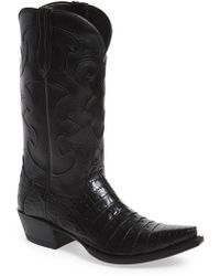 Lucchese | 'charles' Calfskin & Genuine Crocodile Leather Snip Toe Western Boot | Lyst