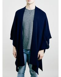 Topman Navy Lightweight Cape - Lyst