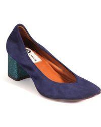 Lanvin | Suede Glittered Cube-heel Pumps | Lyst