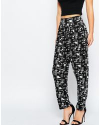 ASOS | Peg Trouser In Mono Sketchy Grid Check | Lyst