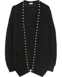 Saint Laurent Studded Wool and Cotton-blend Cardigan - Lyst