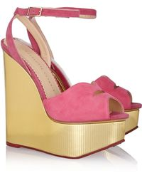 Charlotte Olympia Pucker Up Suede and Leather Wedge Sandals - Lyst