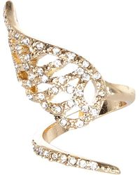 River Island Gold Tone Diamante Encrusted Wrapped Ring - Lyst