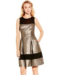 Vince Camuto Metallic Fit And Flare Dress - Lyst