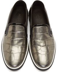 Jimmy Choo Pewter and Black Croc_embossed Grove Slip_on Shoes - Lyst