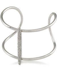 Carolee - Crystal Stems Silvertone Embellished Cuff - Lyst