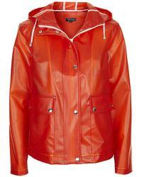 Topshop Translucent Plastic Rain Mac red - Lyst