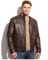 Michael Kors Michael Woodland Four-Pocket Leather Jacket - Lyst