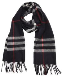 Burberry Dark Blue Check Cashmere Woven Scarf - Lyst